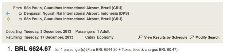 Voo Guarulhos/Bali pela Emirates