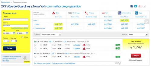 Opções de voo pelo Decolar para NYC (clique para ampliar)